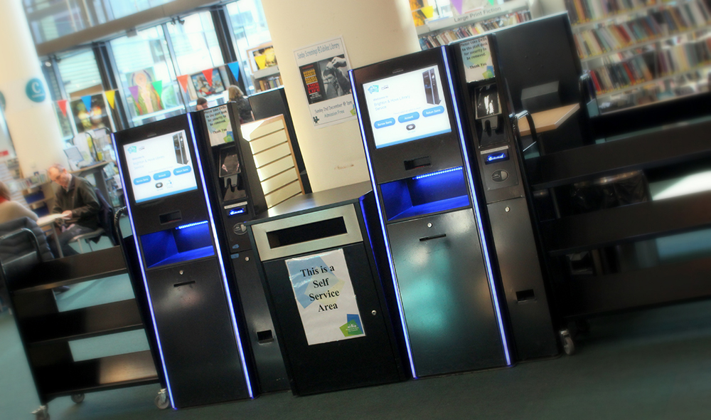 Self service kiosks in a library