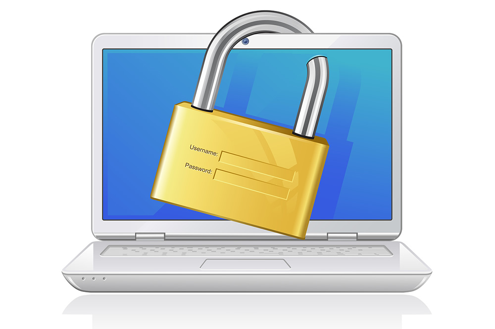 Padlock over a laptop